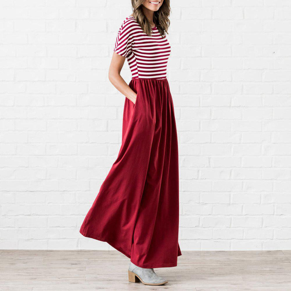 Fashion Women's Autumn Maxi Dress Short Sleeve Striped Top Floral Dresses for Women with