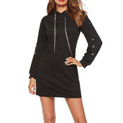 Women's Loose Long Sleeve Hoodie Dress -