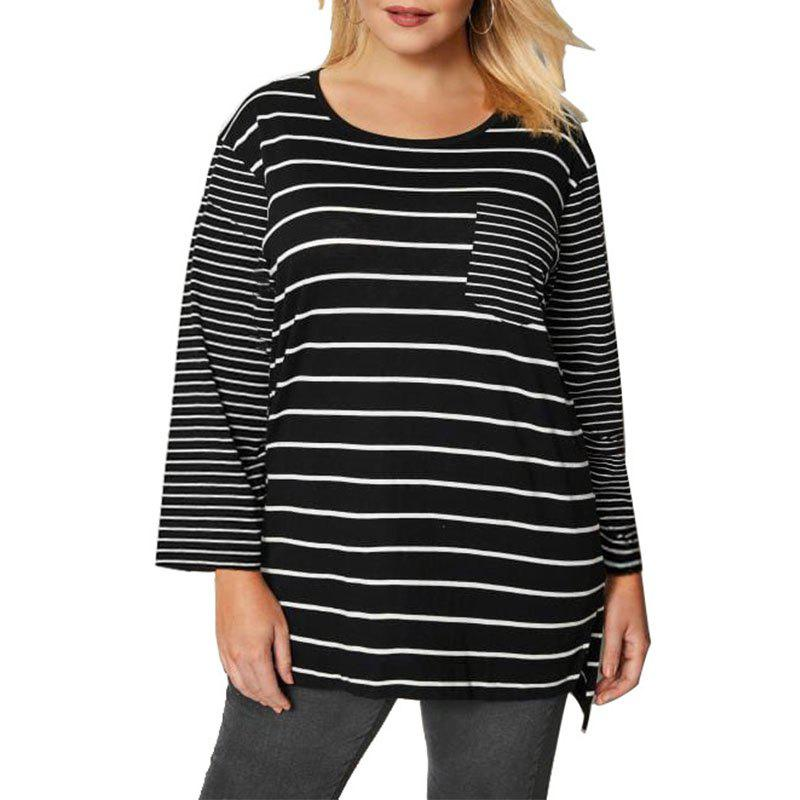 Best Big Size Back White Striped Women Tees Tops New Plus Size Casual Loose Autumn