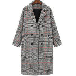 Women's Loose Long Sleeve Grey lattice Coat -