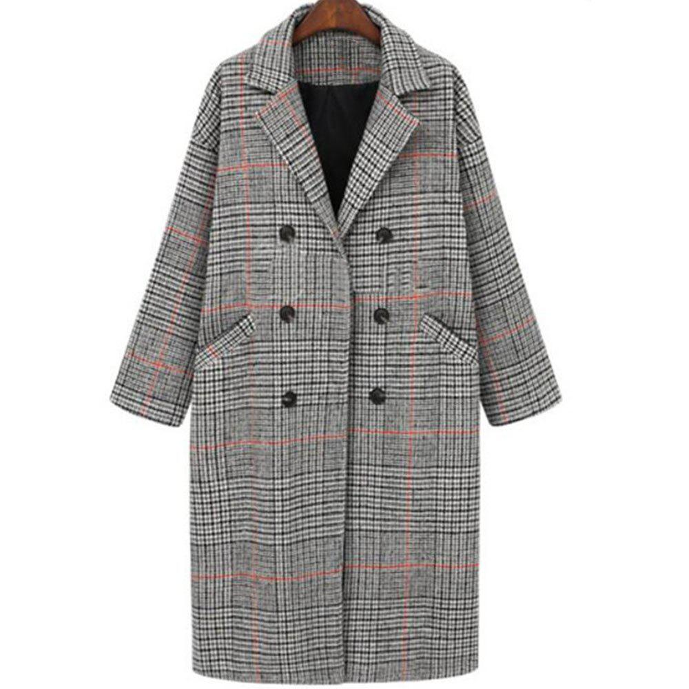 Chic Women's Loose Long Sleeve Grey lattice Coat