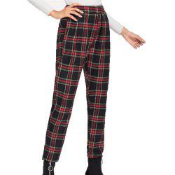 Women's Casual Red  Plaid Pants -