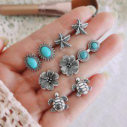 Tidal Current 5 Pairs of Starfish Turtle Turquoise Bohemia Wind Earring -