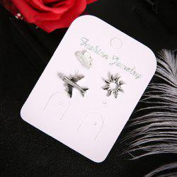 3 Pcs/Set Trendy Fashion Silver Airplane Sun Cloud Earring -