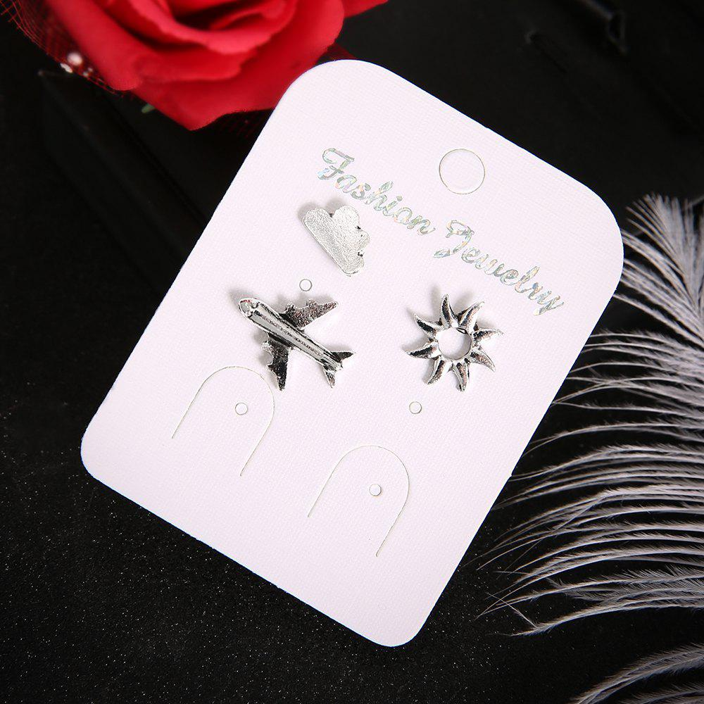 Latest 3 Pcs/Set Trendy Fashion Silver Airplane Sun Cloud Earring