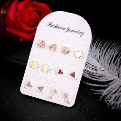 6 Pairs/Set Crystal Heart Arrow LOVE Stud Earrings -