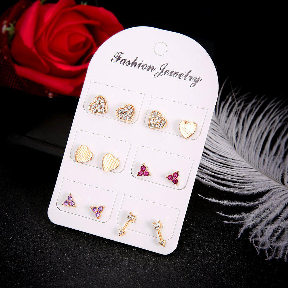 Online 6 Pairs/Set Crystal Heart Arrow LOVE Stud Earrings