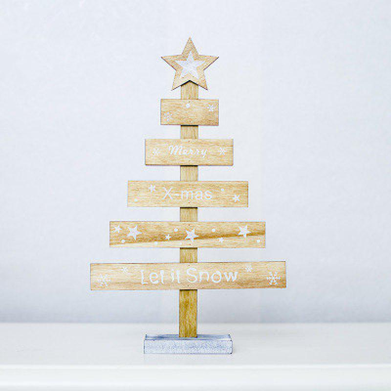 Yeduo Wooden Desktop Small Christmas Tree Mini Ornaments Table Decoration