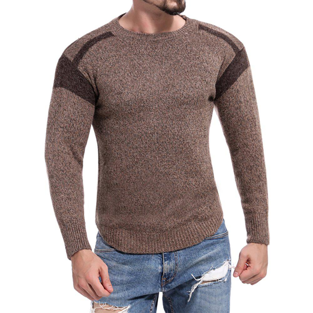 Cheap Men's Casual Colorblock Round Neck Long Sleeve Sweater