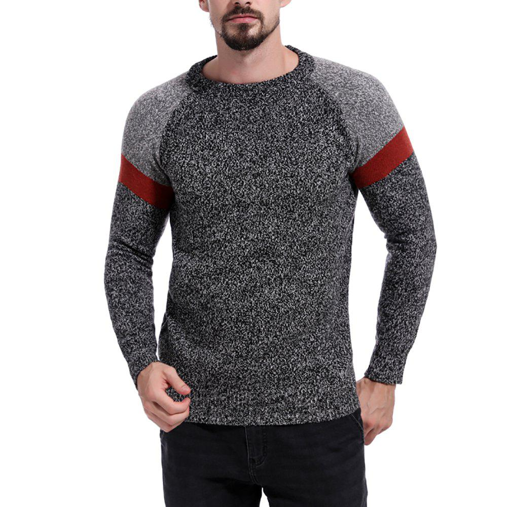 Latest Men's Colorblock Stitching Round Neck Long Sleeve Sweater
