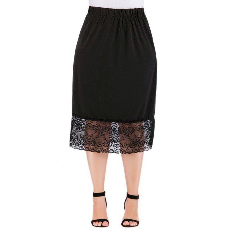 Fancy Solid Color Hollow Out Lace Skirt