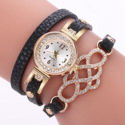 XR2747 Fashion Casual Luxury Rhinestone Circle Gemstone Bracelet Watch -