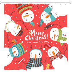 Snowman on Red Ring Digital Printing Fabric Waterproof and Mildewproof -
