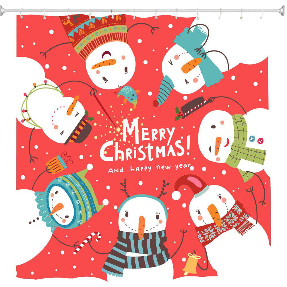 Hot Snowman on Red Ring Digital Printing Fabric Waterproof and Mildewproof