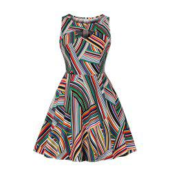 Chromatic Stripe Simple Dress -