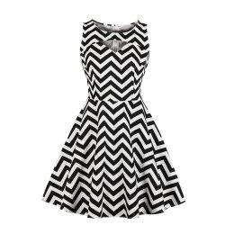 Stripe Contracted Vintage Dress -