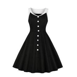 V-Neck Buttons Black Dress -