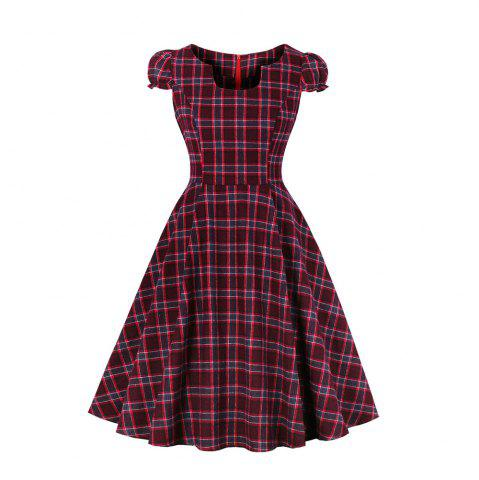 Grid Contracted Slim Dress