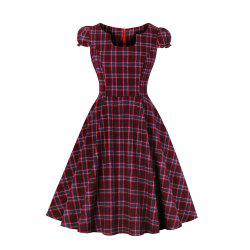 Grid Contracted Slim Dress -