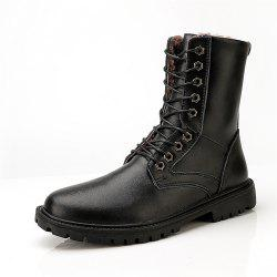 Men'S Fashionable and Comfortable Add Wool Middle Tube Leather Boots -