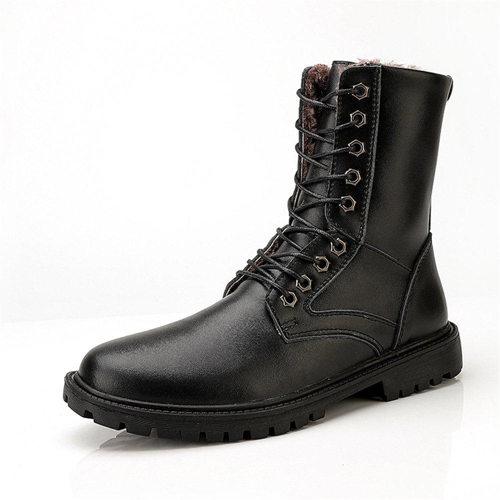 Sale Men'S Fashionable and Comfortable Add Wool Middle Tube Leather Boots