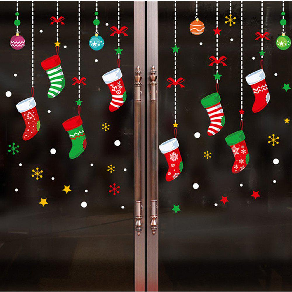 Outfit Christmas Gift Socks Snowflakes Hanging Glass Window Stickers Can Be Removed
