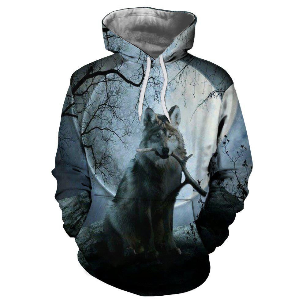 Trendy Fashion Personality Men's Hooded Sweater Digital Printing Moon Wolf Pattern