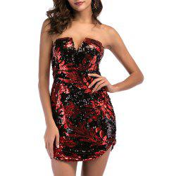 Women's Sexy Strapless Sequins Backless Off Shoulder Bodycon Club Mini Dress -