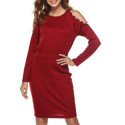 Women Solid Color Round Neck Off Shoulder Beaded Long Sleeve Slim Bodycon Dress -