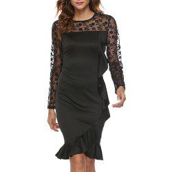 Elegant Solid Color Lace Mesh Stitching Long Sleeve Ruffle Slim Bodycon Dress -
