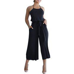 Women's Solid Color Strap Wide Leg Jumpsuit -