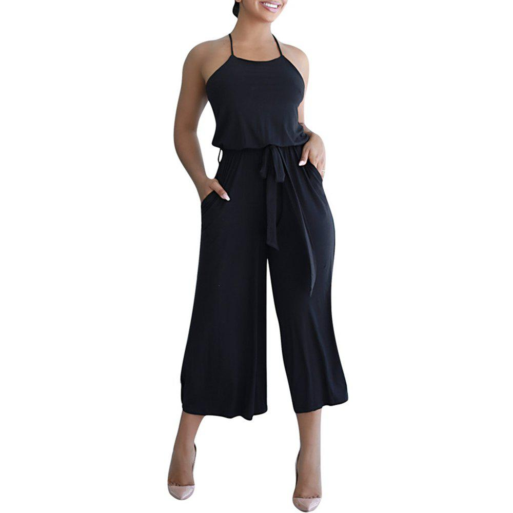New Women's Solid Color Strap Wide Leg Jumpsuit