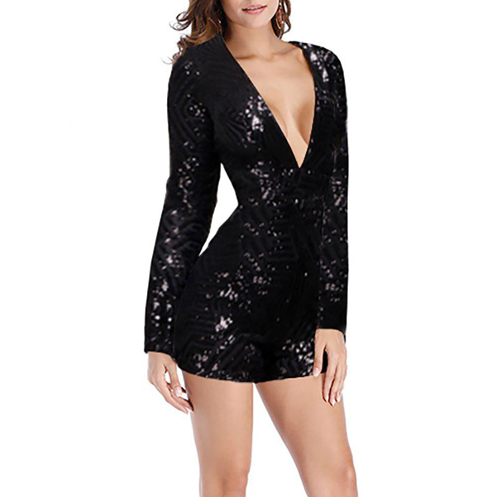 Женская Deep V Sexy Long Sleeve с клубом Sequins Cut Out Backless Romper