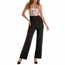 Women's Sexy Round Neck Cut Cut with Sequins Patchwork Backless Jumpsuit -