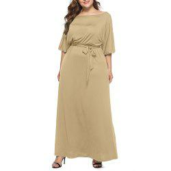 Women's Solid Color Plus Size Fat Batwing Sleeve Mid-sleeve Maxi Dress -
