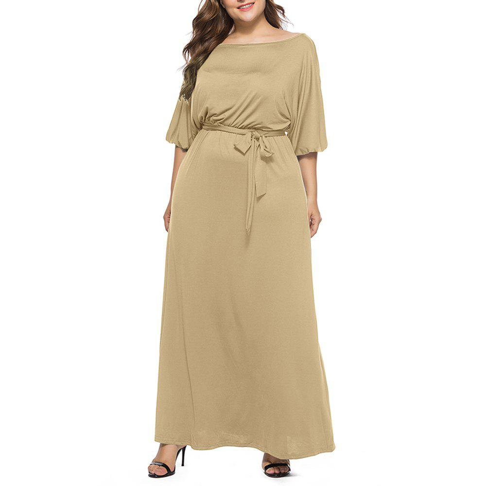 Unique Women's Solid Color Plus Size Fat Batwing Sleeve Mid-sleeve Maxi Dress