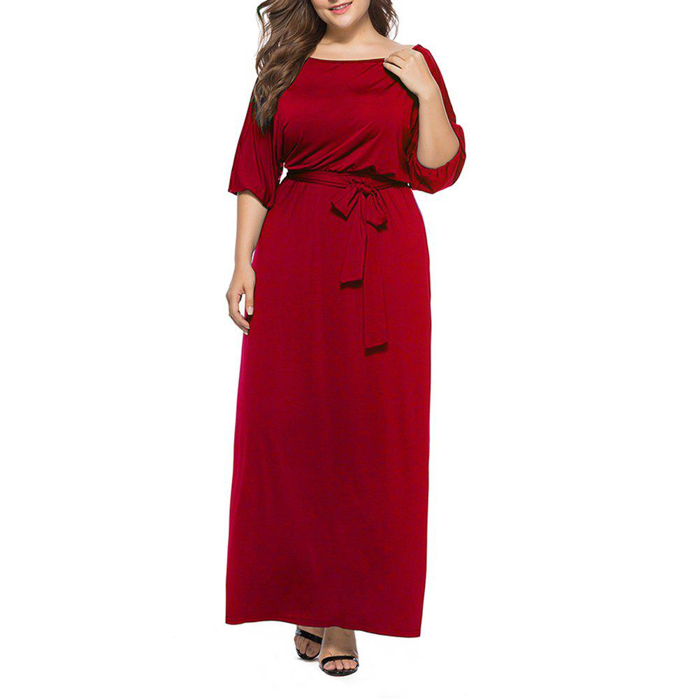 Store Women's Solid Color Plus Size Fat Batwing Sleeve Mid-sleeve Maxi Dress
