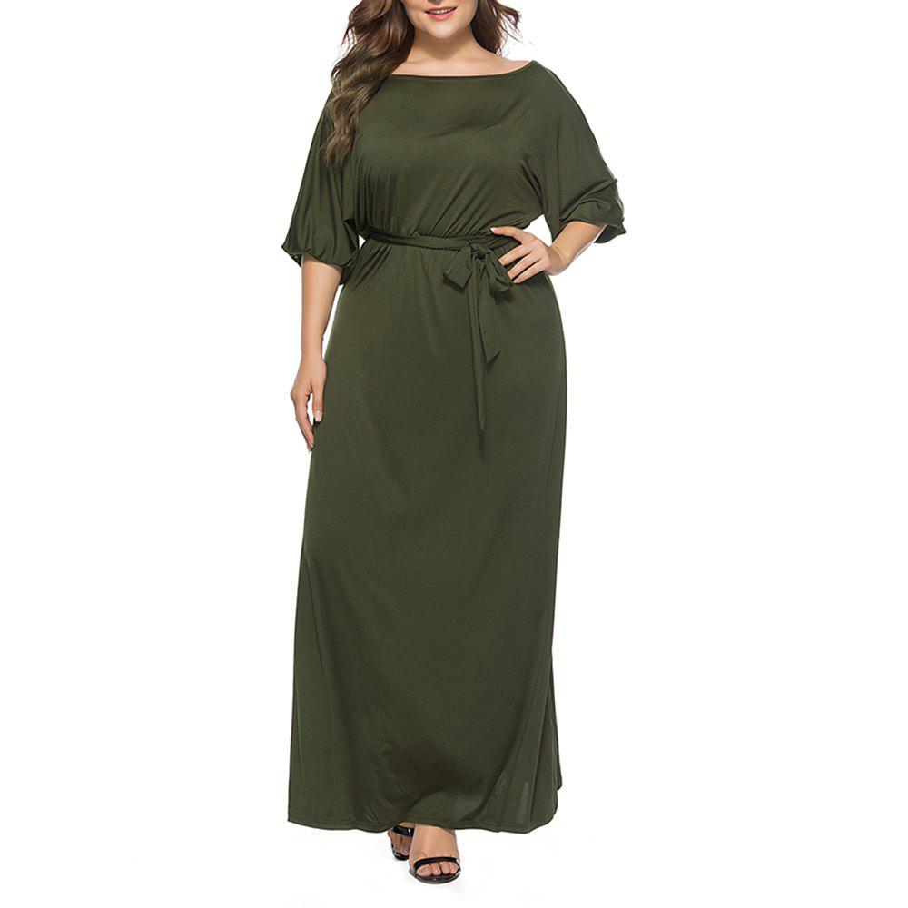 Sale Women's Solid Color Plus Size Fat Batwing Sleeve Mid-sleeve Maxi Dress