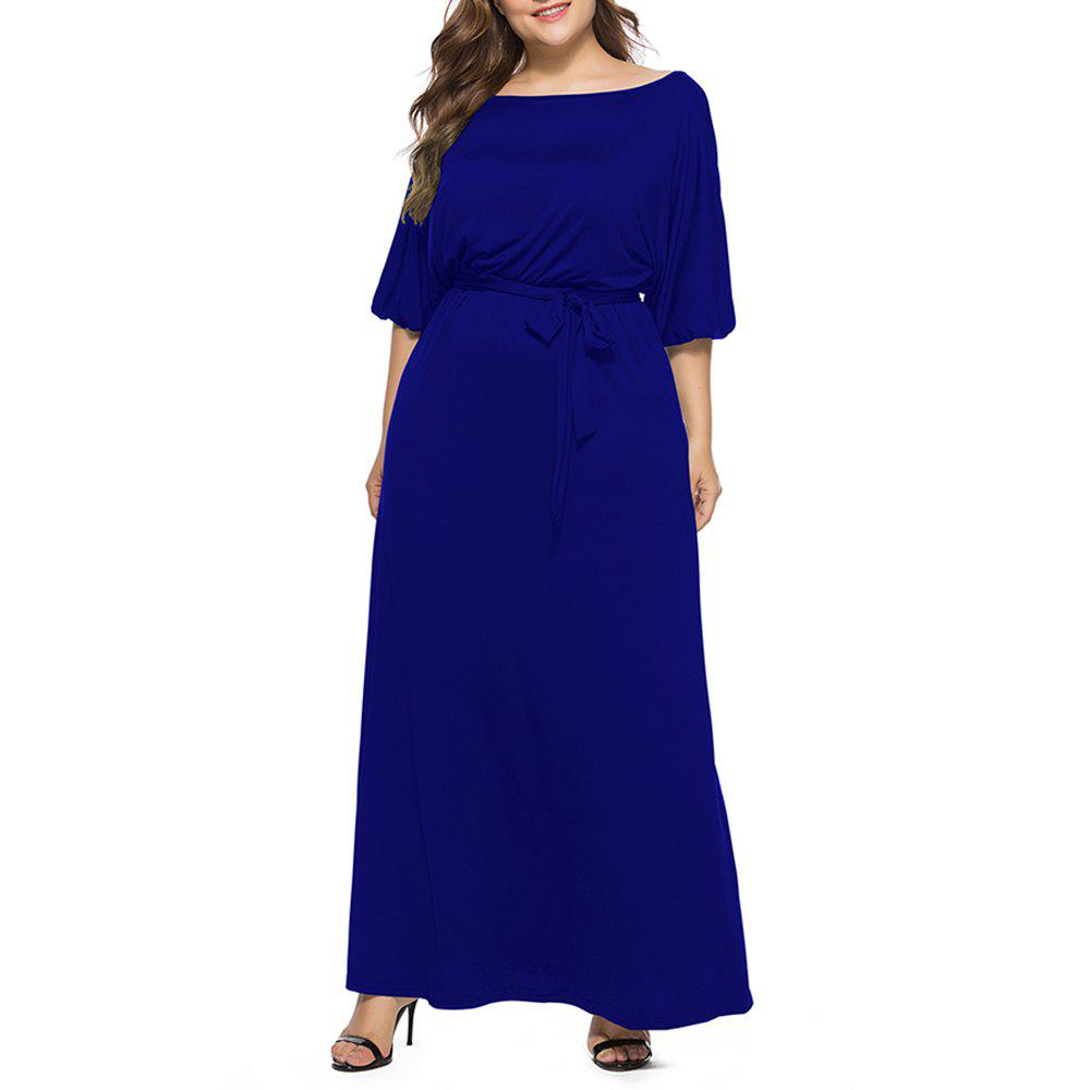 Online Women's Solid Color Plus Size Fat Batwing Sleeve Mid-sleeve Maxi Dress