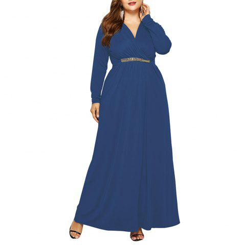 Women's V Neck Elegant Plus Size Fat with Diamond Batwing Sleeve Maxi Dress
