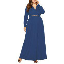Women's V Neck Elegant Plus Size Fat with Diamond Batwing Sleeve Maxi Dress -