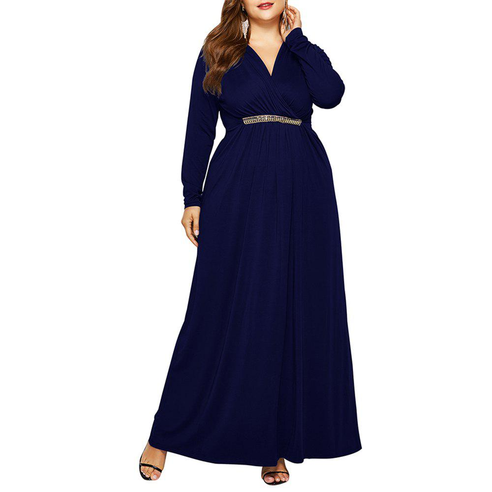 Trendy Women's V Neck Elegant Plus Size Fat with Diamond Batwing Sleeve Maxi Dress