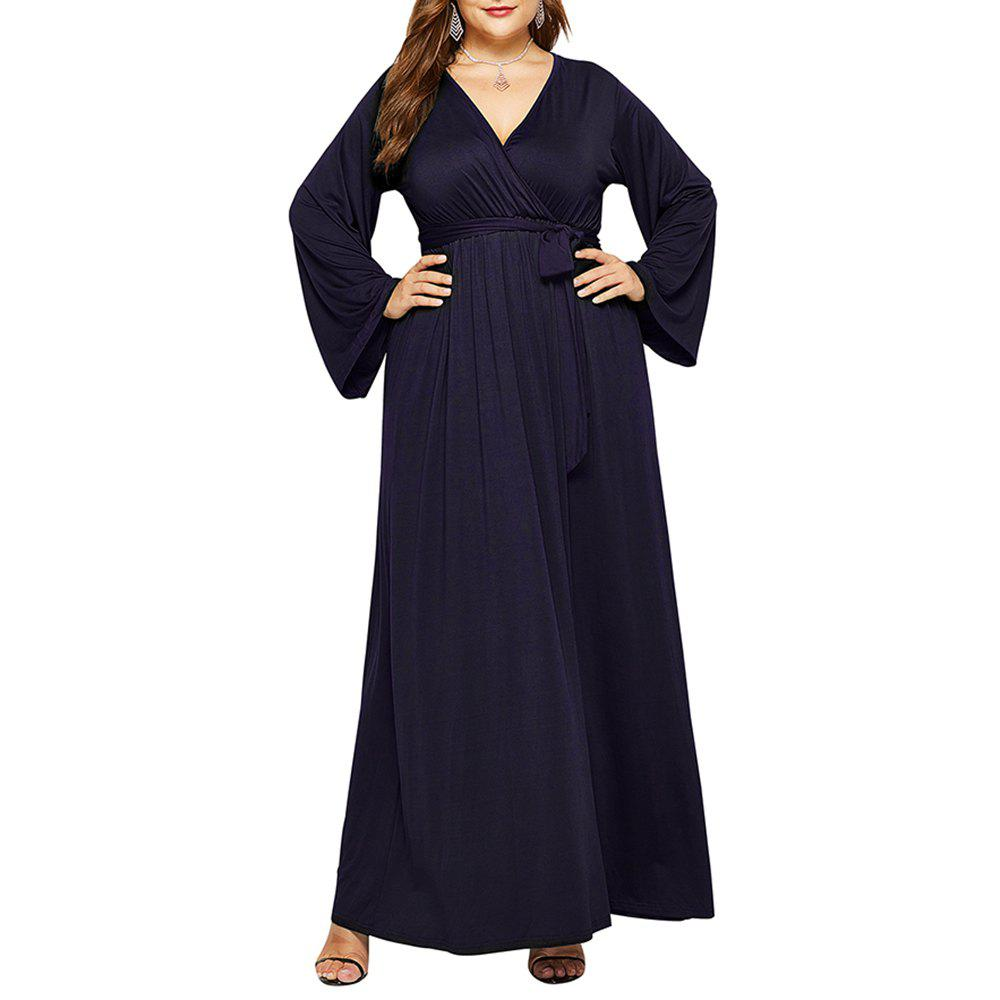 New Women's Solid Color V Neck Long Sleeve Plus Size Fat Maxi Dress