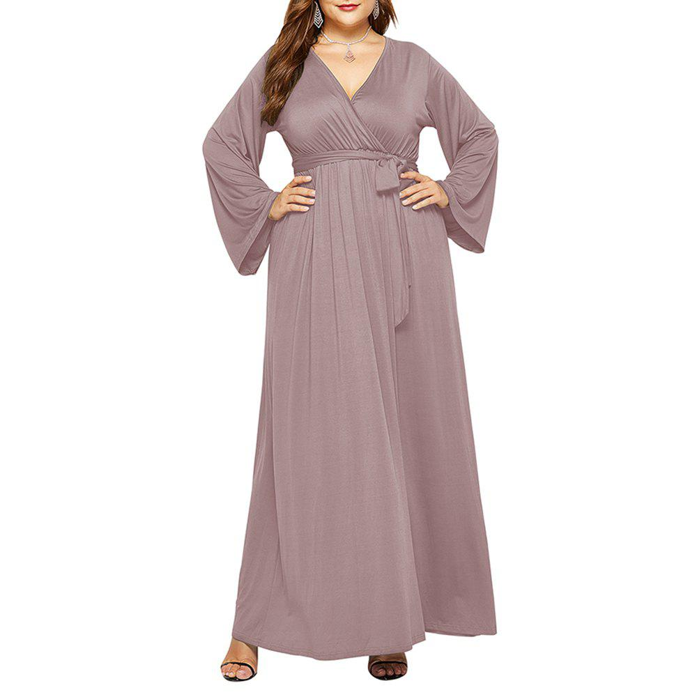 Trendy Women's Solid Color V Neck Long Sleeve Plus Size Fat Maxi Dress