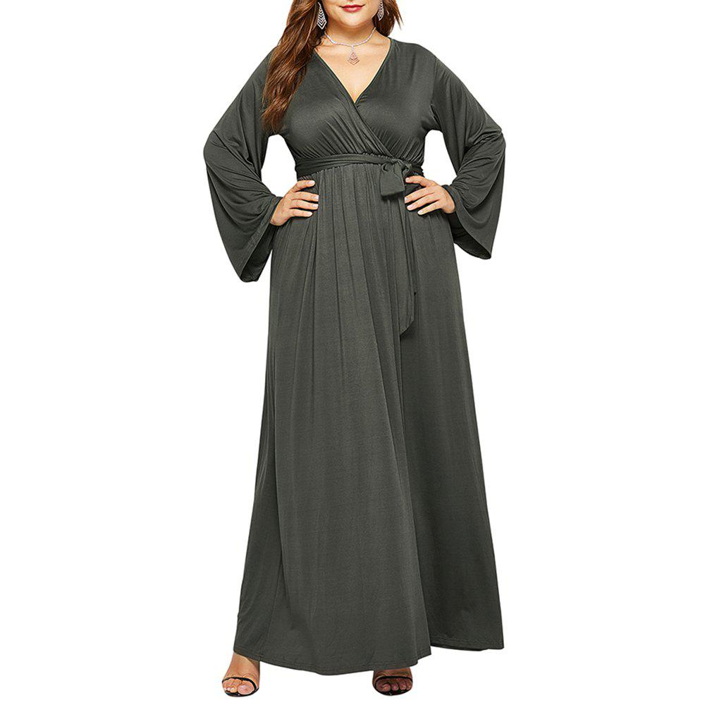 Discount Women's Solid Color V Neck Long Sleeve Plus Size Fat Maxi Dress