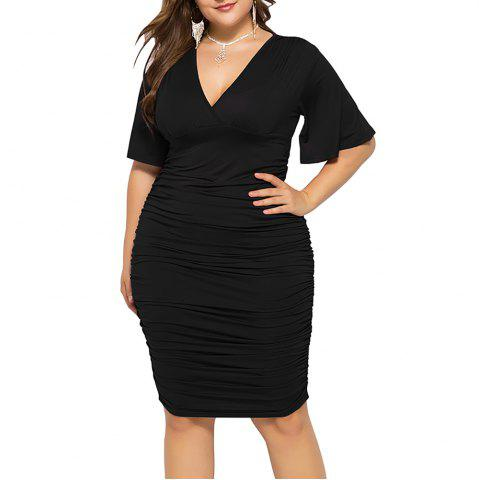 V Neck Solid Color High Waist Batwing Short Sleeve Plus Size Bodycon Slim Dress