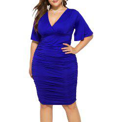 V Neck Solid Color High Waist Batwing Short Sleeve Plus Size Bodycon Slim Dress -