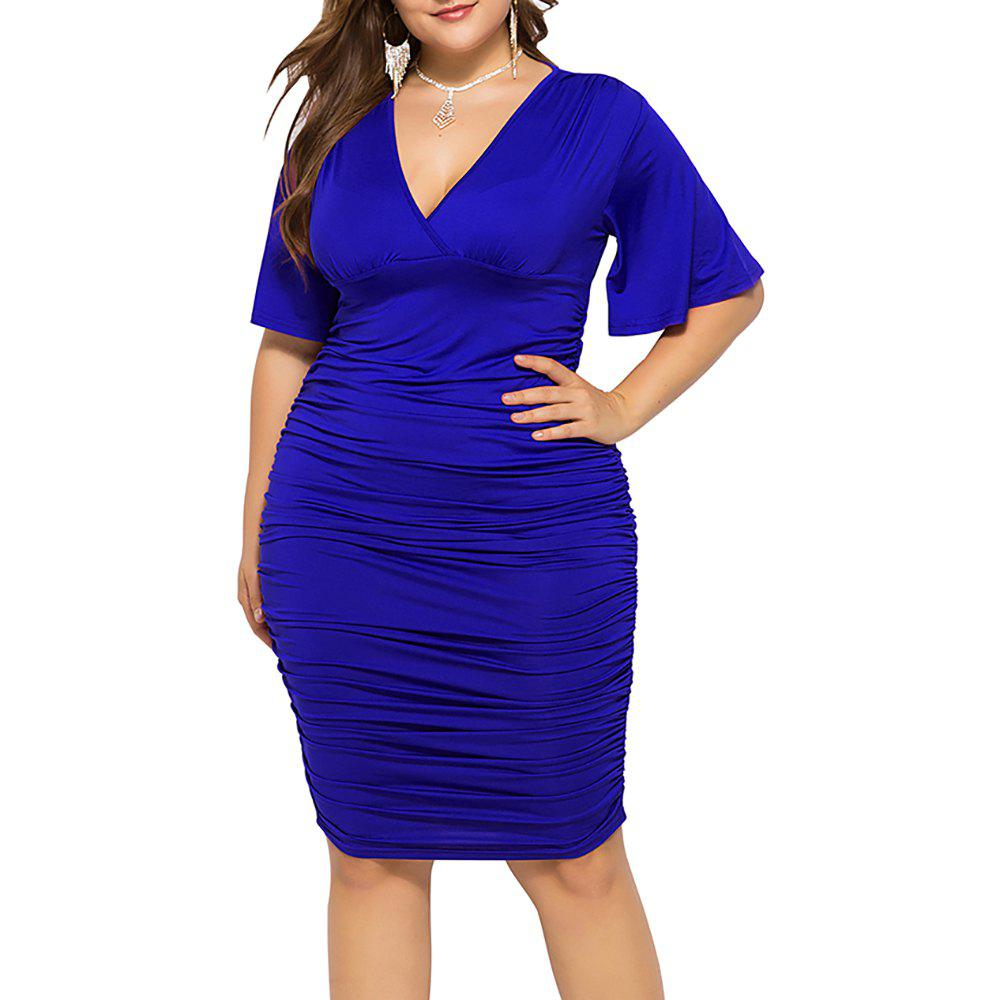 Outfit V Neck Solid Color High Waist Batwing Short Sleeve Plus Size Bodycon Slim Dress