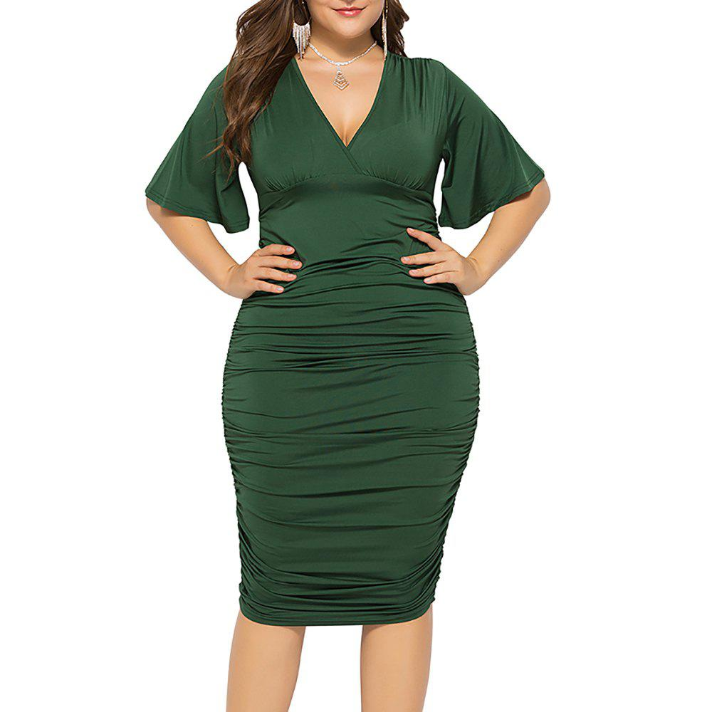 Fashion V Neck Solid Color High Waist Batwing Short Sleeve Plus Size Bodycon Slim Dress