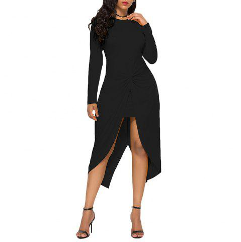 Women's Solid Color Round Neck Long Sleeve Crease Irregular Plus Size Dress